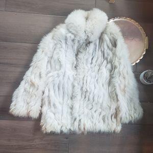 Saga Fox White Real Fur Winter Coat S